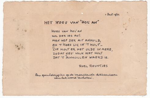 Gedicht Roel Reijntjes 't Hoes van Hol-An, Aalden, Pannenkoekboerderij